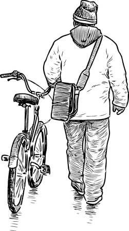 Vector drawing of a person with a bike.