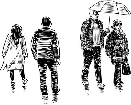 passerby: Vector sketch of the casual towns pedestrians.