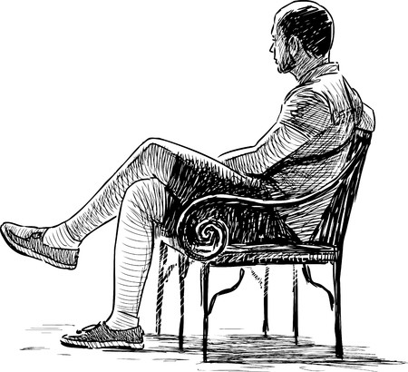 Vector drawing of a casual man on the park bench.