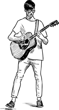 Vector drawing of a street guitarist.