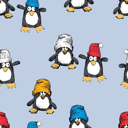 Vector pattern of the cheerful penguins