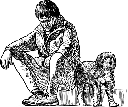 Vector image of a person with his dog Illustration