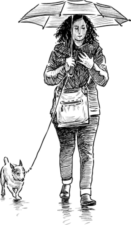 striding: Vector image of a girl with an umbrella with a dog