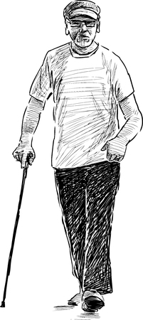 striding: Vector image of the old man Illustration