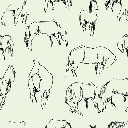 Vector image of horses Çizim