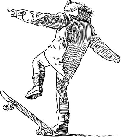 backview: Vector image of a boy on a skateboard