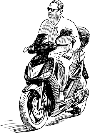 Sketch of a man riding a motorbike Illustration