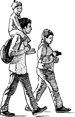 Vector sketch of a family on a stroll