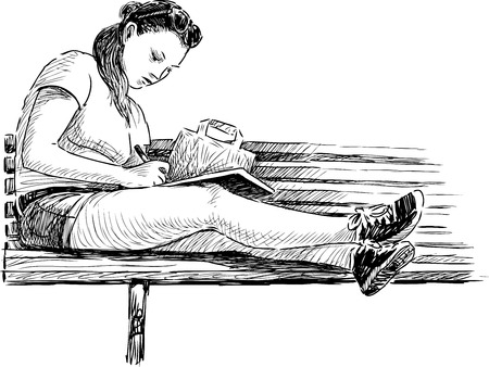 Vector drawing of a schoolgirl on the park bench.