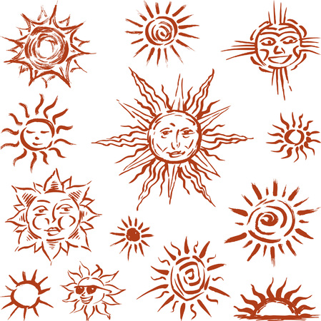abstact: Vector image of the different sun symbols.