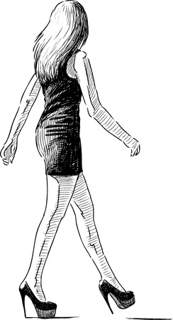 Vector drawing of a striding slim girl. Illustration