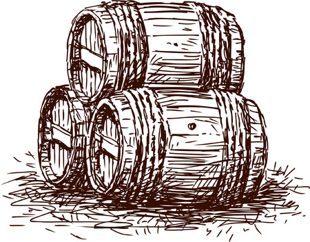 Vector drawing of the wine casks.