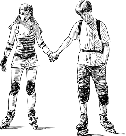 Vector sketch of the teenagers on the roller scates.