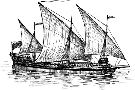 mode of transport: Vector drawing of an old sailing ship. Illustration