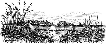 Vector image of the autumn landscape of the riverside. Stock Illustratie