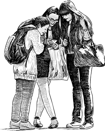 Sketch of the schoolgirls with a reading a message on a mobile phone. Illustration