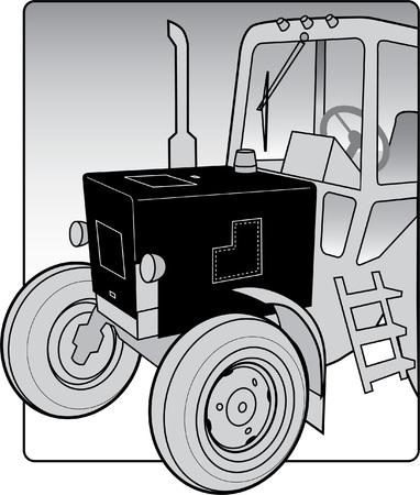 La imagen del vector de un tractor agrícola. Foto de archivo - 80890553