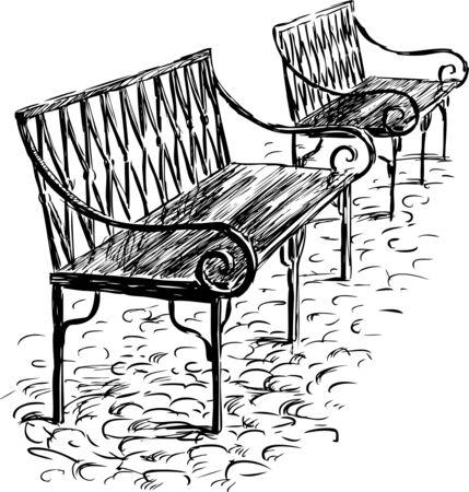 Vector de boceto de los bancos del parque. Foto de archivo - 80890183