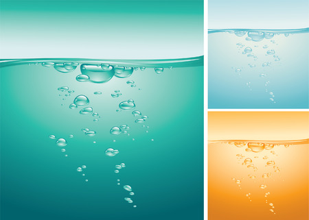 The vector image of the water background with the air bubbles. Illustration