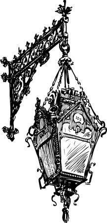 Vector drawing of a vintage streetlight.