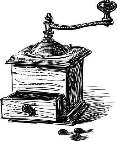 Sketch of an old wooden coffee grinder. Illustration