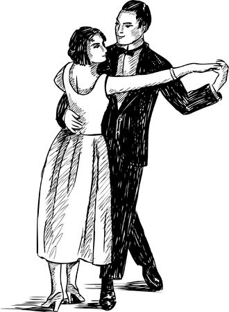 real people: Vector drawing of the vintage dancing people. Illustration