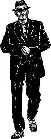 striding: Vector drawing of a man in the black suit.