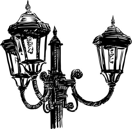 Vector drawing of a vintage lantern. Illustration