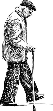 Vector Zeichnung eines alten Mannes auf einem Spaziergang.