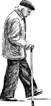 Vector drawing of an old man on a stroll. Stock Illustratie