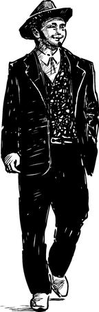 Vector drawing of a walking man in the vintage costume. Ilustração