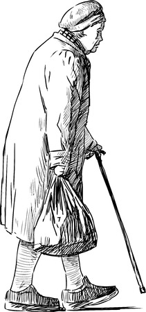 Sketch of a walking old woman Illustration