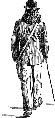 Sketch of a walking man in the hat