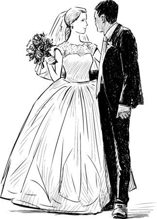Disegno vettoriale della sposa e dello sposo felice Vettoriali