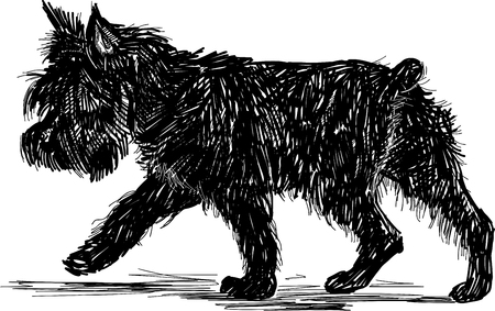 Vector drawing of a striding black terrier Vector Illustration