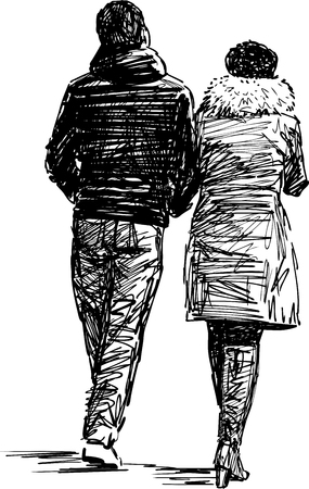 The sketch of a strolling couple of the townspeople