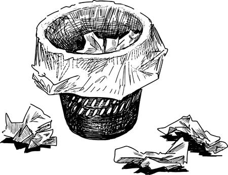 Vector Zeichnung eines Korbes für den Büroabfall