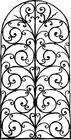 Vector drawing of a decorative window fence