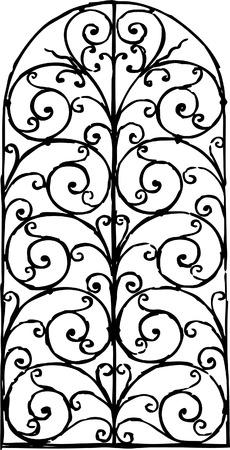 Vector tekening van een decoratieve raamheining Stock Illustratie