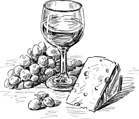 Schets van een wijnglas met een kaas en een druivencluster Stock Illustratie