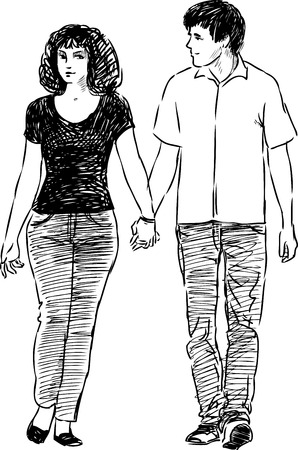 Sketch of a loving people on a stroll. Illustration