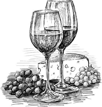 Schets van de wijnglazen, kaas en druivenbunches Stock Illustratie