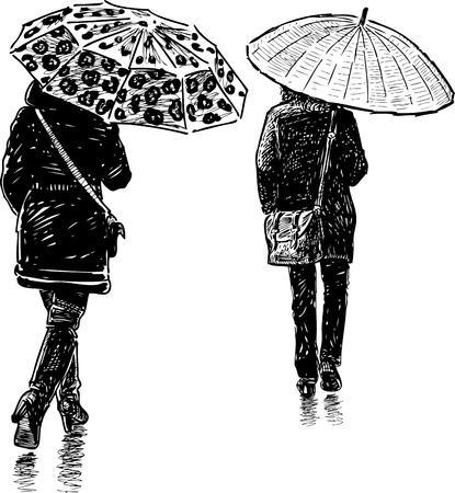 The townspeople walking under umbrellas