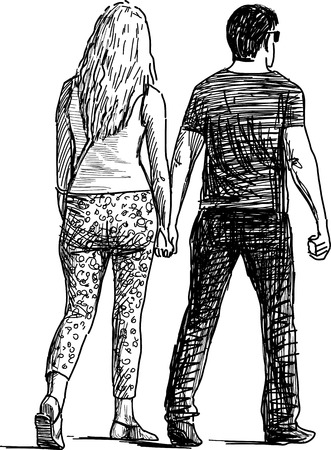 Vector drawing of a young people on a date.