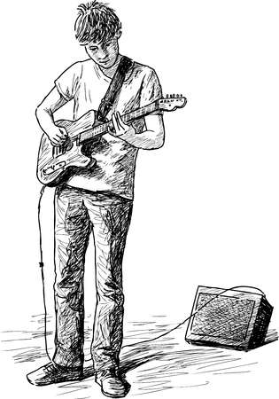 ストリートのギタリストのスケッチ