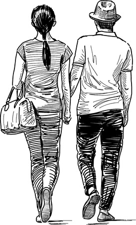 striding: The young people are on a date. Illustration