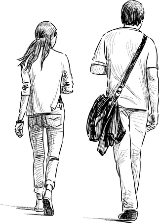 The pair of young people on the walk Illustration