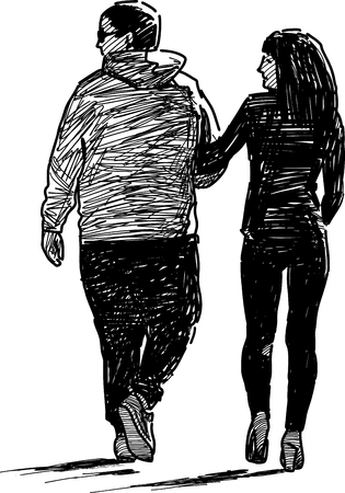 tread: Sketch of the casual couple of the townspeople Illustration