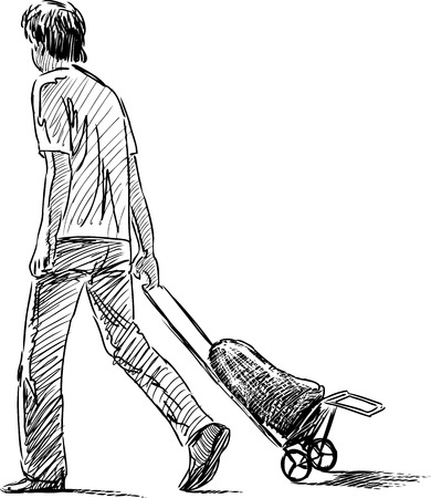 Sketch of a person walking with a bag.