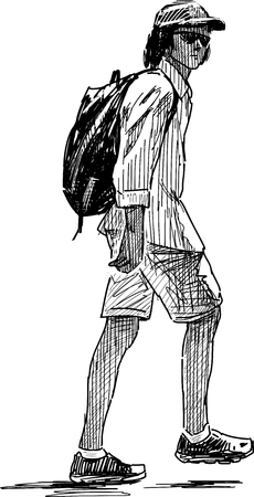 striding: Sketch of a striding young tourist